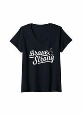skin Womens Melanoma Awareness Shirt Brave & Strong Gift V-Neck T-Shirt