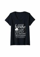 skin Womens Melanoma Awareness Shirt Breathe Fight Ribbon Gift V-Neck T-Shirt