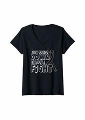 skin Womens Melanoma Awareness Shirt Family Ribbon Gift V-Neck T-Shirt