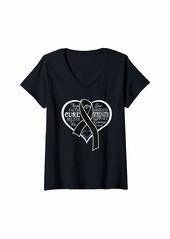 skin Womens Melanoma Awareness Shirt Heart Ribbon Gift V-Neck T-Shirt