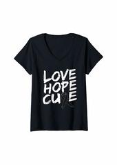 skin Womens Melanoma Awareness Shirt Love Hope Cure Ribbon Gift V-Neck T-Shirt