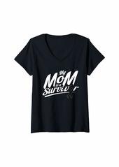 skin Womens Melanoma Awareness Shirt Mom Survivor Ribbon Gift V-Neck T-Shirt