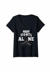 skin Womens Melanoma Awareness Shirt Nobody Fights Alone Gift V-Neck T-Shirt