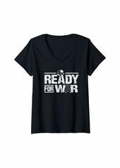 skin Womens Melanoma Awareness Shirt Ready Battle Ribbon Gift V-Neck T-Shirt