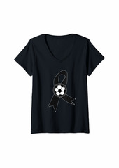 skin Womens Melanoma Awareness Shirt Soccer Ribbon Gift V-Neck T-Shirt
