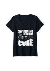 skin Womens Melanoma Awareness Shirt Swimming Ribbon Gift V-Neck T-Shirt
