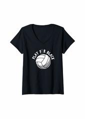 skin Womens Melanoma Awareness Shirt Volleyball Ribbon Gift V-Neck T-Shirt