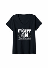 skin Womens Melanoma Awareness Shirt Volleyball Ribbon Gift V-Neck T-Shirt