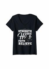 skin Womens Melanoma Awareness Strength Ribbon Shirt Gift V-Neck T-Shirt
