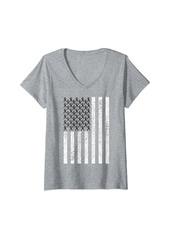 Womens Skin Cancer Awareness Ribbon Black Melanom US American Flag V-Neck T-Shirt