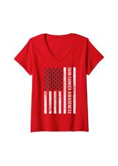 Womens Skin Cancer Awareness Ribbon Black Melanom US Flag America V-Neck T-Shirt