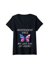 Womens Skin Cancer Ribbon Independence Day USA Flag America V-Neck T-Shirt