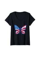 Womens Skin Cancer Survivor Independence Day American Flag USA V-Neck T-Shirt