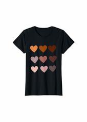Womens Skin Tone Hearts Be Kind- Melanin Gift T-Shirt