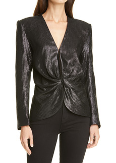 Smythe Metallic Ruched Long Sleeve Silk Blouse