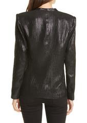 Smythe Metallic Ruched Long Sleeve Silk Blouse
