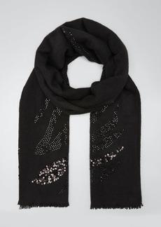 Sofia Cashmere Sequined Zebra-Print Cashmere Scarf