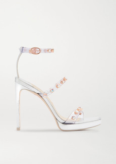 Sophia Webster Rosalind Crystal-embellished Pvc And Metallic Leather Platform Sandals