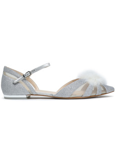 Sophia Webster Woman Paola Feather-embellished Glittered Metallic Leather Point-toe Flats Silver
