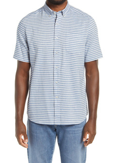 Southern Tide Herringbone Stripe Classic Fit Short Sleeve Button-Down Shirt