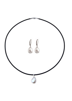 Splendid 10-11mm Keshi Pearl Necklace & Earrings 2-Piece Set