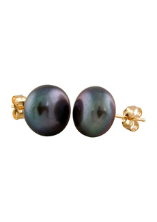 Splendid 14K Yellow Gold 10-11mm Black Freshwater Pearl Stud Earrings