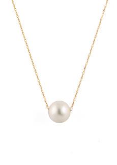 Splendid 14K Yellow Gold 10-11mm White Freshwater Pearl Slider Necklace
