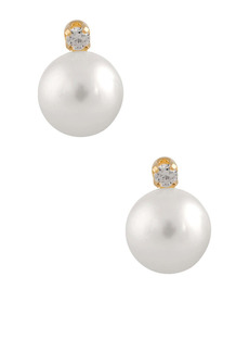 Splendid 14K Yellow Gold White Cultured Freshwater Pearl & White Diamond Stud Earrings