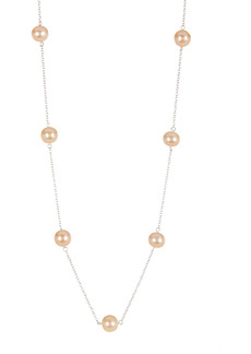 Splendid 7-7.5mm Pink Cultured Freshwater Pearl Tin Cup Station Necklace