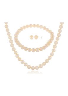 Splendid 7-8mm Natural White Cultured Freshwater Pearl 3-Piece Earring Necklace & Bracelet Set