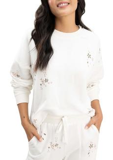 Splendid Love Me Floral Embroidered Sweatshirt