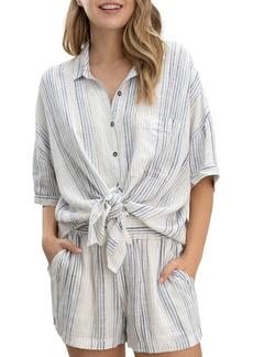 Splendid Pier Stripe Knot Tie Short Sleeve Button-Up Shirt