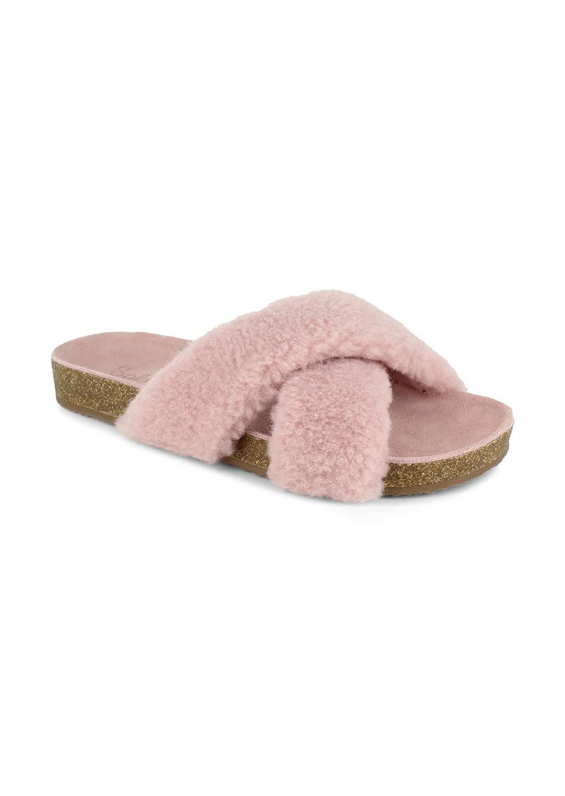 Splendid Rozi Genuine Shearling Blend Slide Sandal