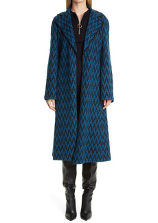 St. John Collection Felted Herringbone Wool Blend Sweater Coat