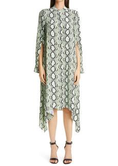 St. John Collection Snakeskin Print Crêpe de Chine Long Sleeve Midi Dress