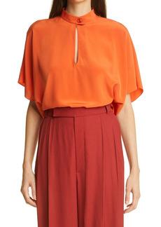 St. John Collection Tab Collar Silk Blouse