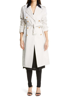 St. John Collection Tweed & Cotton Blend Trench Coat
