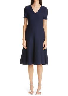 St. John collection V-Neck Milano Knit Fit & Flare Dress