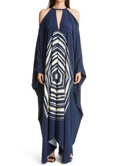 St. John Evening Hexagon Print Silk Caftan Gown