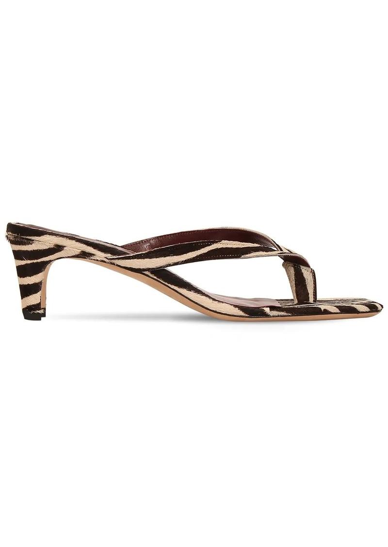 STAUD 55mm Audrey Printed Ponyskin Sandals