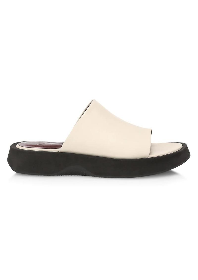 STAUD Alpine Leather Flatform Slides