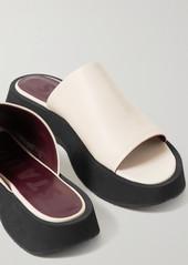 STAUD Alpine Leather Platform Slides