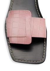 STAUD Amelie Crocodile-Embossed Leather Flat Sandals