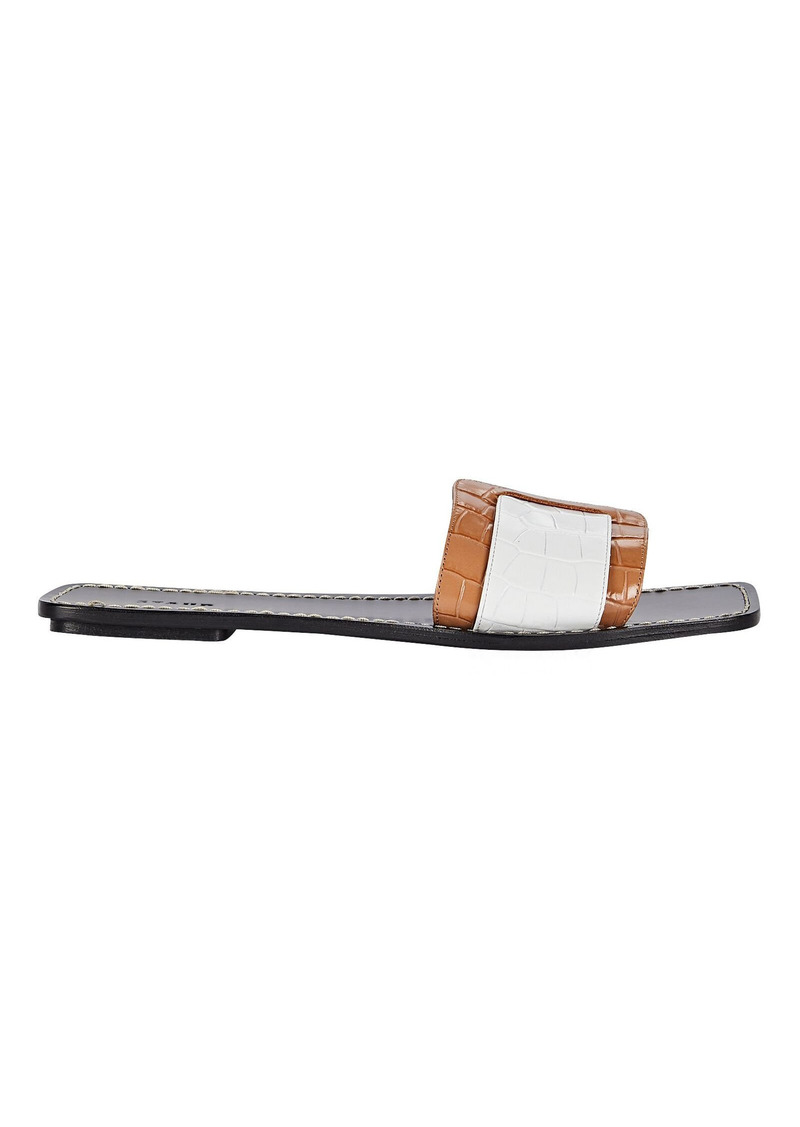 STAUD Amelie Leather Buckle Flat Sandals