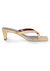STAUD Audrey Square-Toe Dotted Leather Thong Sandals