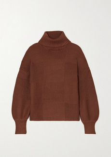 STAUD Benny Paneled Ribbed-knitted Turtleneck Sweater