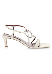 STAUD Bijoux Croc-Embossed Leather Sandals
