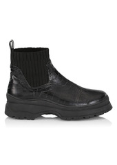 STAUD Bow Croc-Embossed Leather Ankle Boots