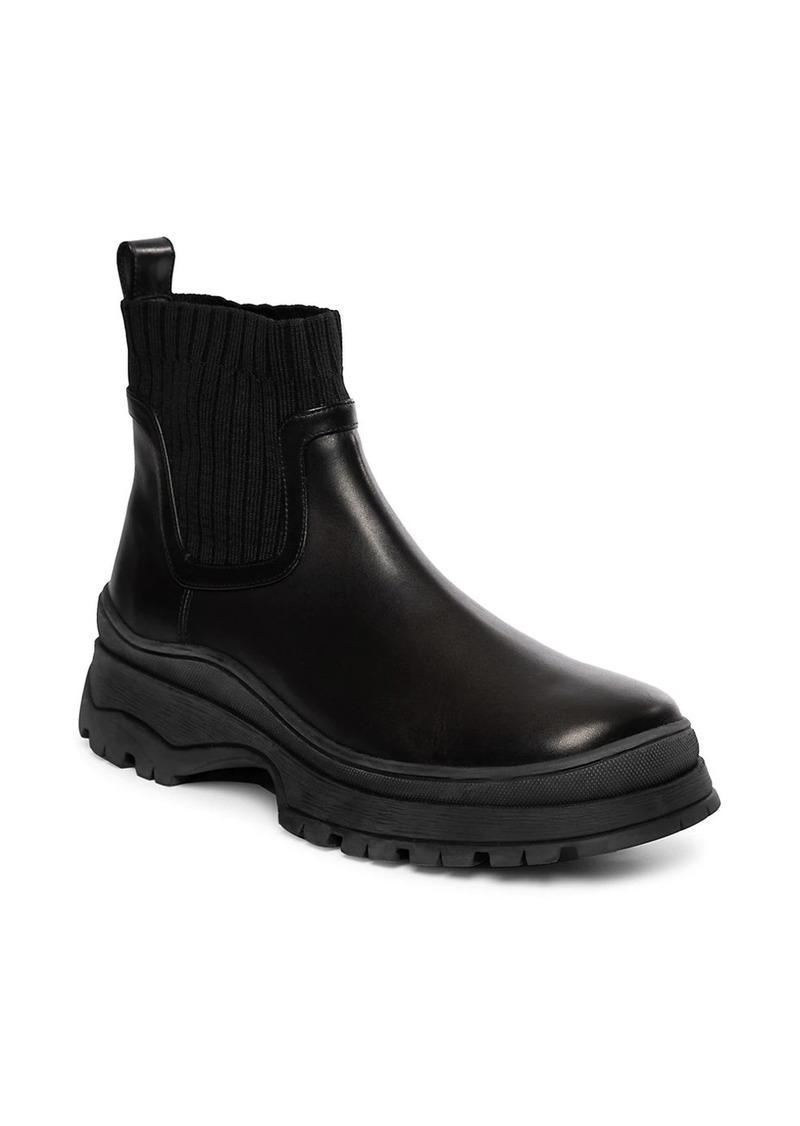 STAUD Bow Lug-Sole Leather Sock Boots