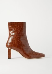 STAUD Brando Croc-effect Leather Ankle Boots